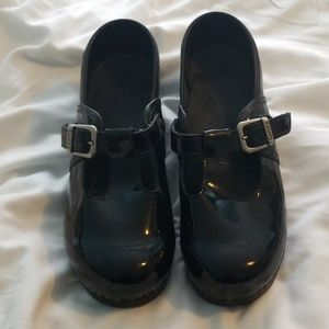 Sanita Black Patent Leather T-strap Mary Jane Clog